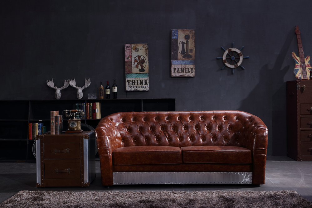 Industrial Aviation Vintage Whisky Brown PU BiCast Leather 3 Seater Sofa