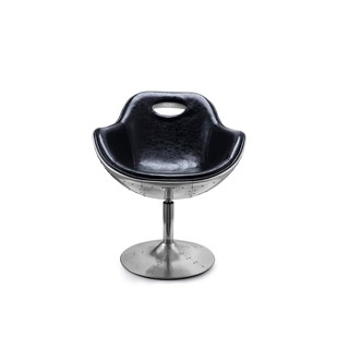 Aviation Black Bonded Leather Swivel Chair