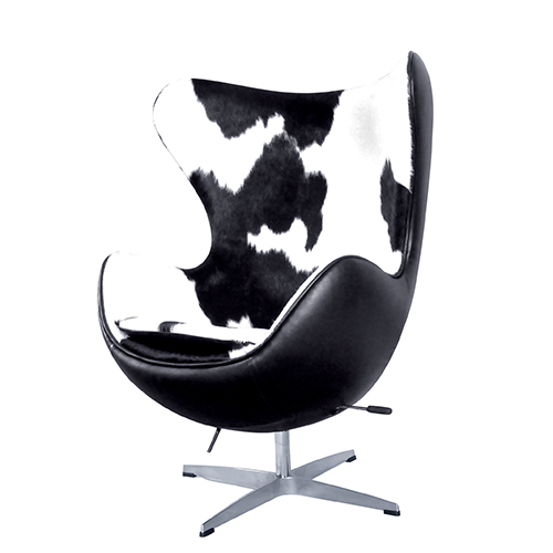 Thumbnail 1 Egg Chair Blacku0026White Cowhide Leather Reproduction ...