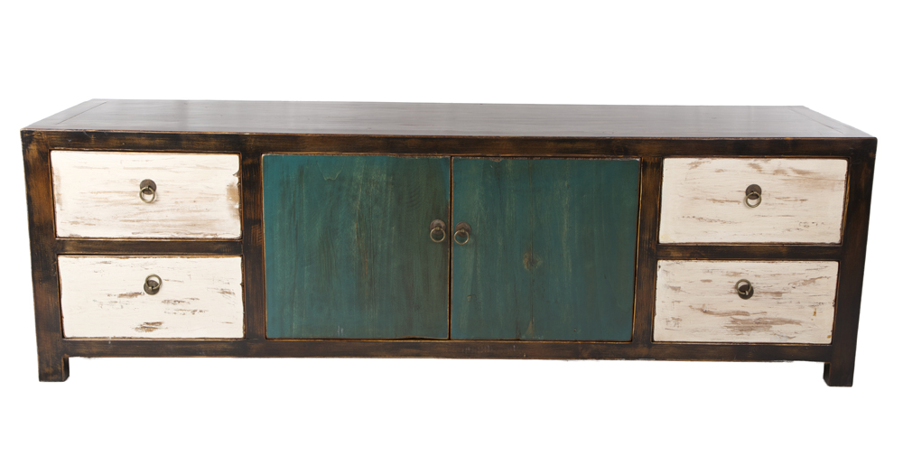 Distressed low chest of drawers teal white by home elements