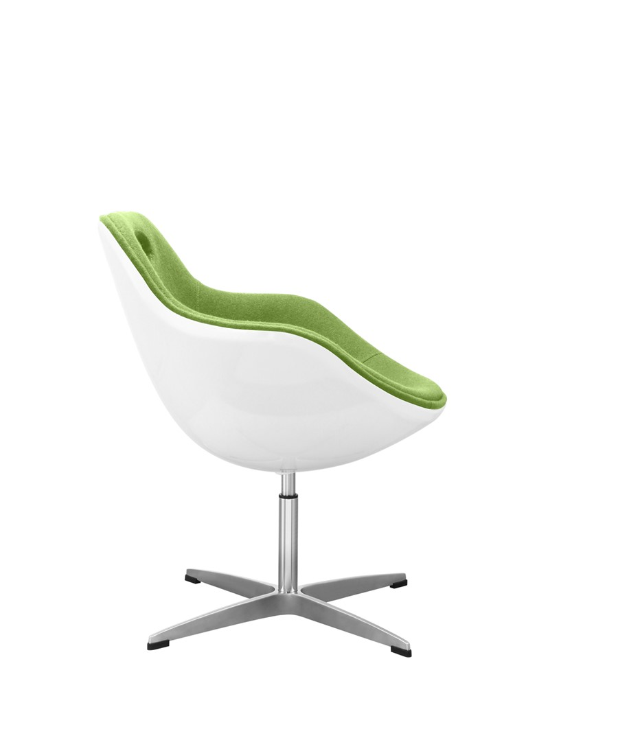 Swivel Egg Chair Lime Green Wool White Shell Kitchen/Dining/Office