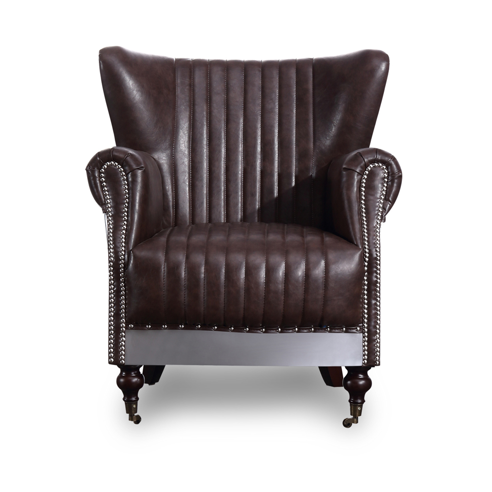 Wing Back Aviator Armchair Industrial Retro Brown PU Leather
