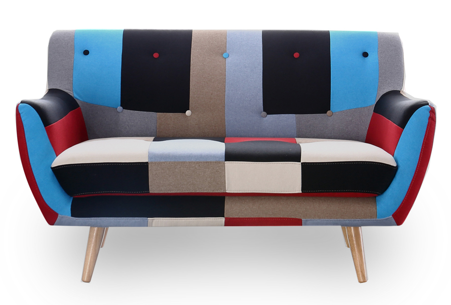 2 Seater Sofa Retro Scandinavian Compact Multi Coloured Patchwork Fabric