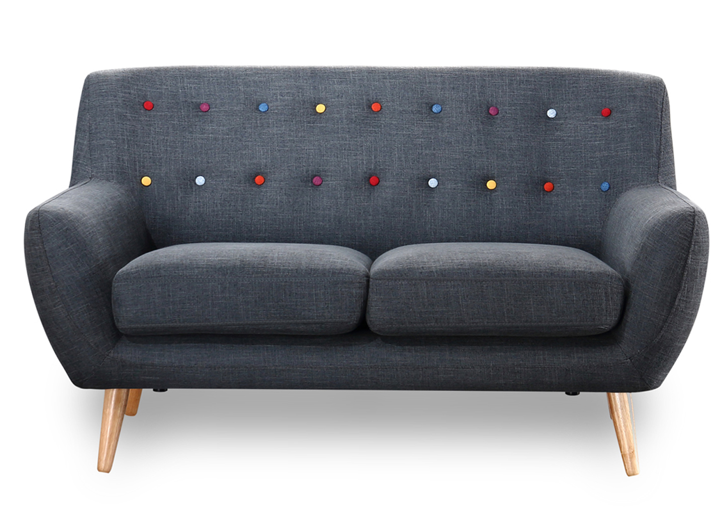 2 Seater Sofa in charcoal grey with rainbow buttons scandinavian style