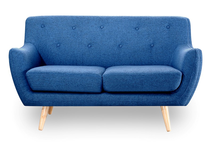 Retro Scandinavian Compact Design Blue 2 Seater Sofa