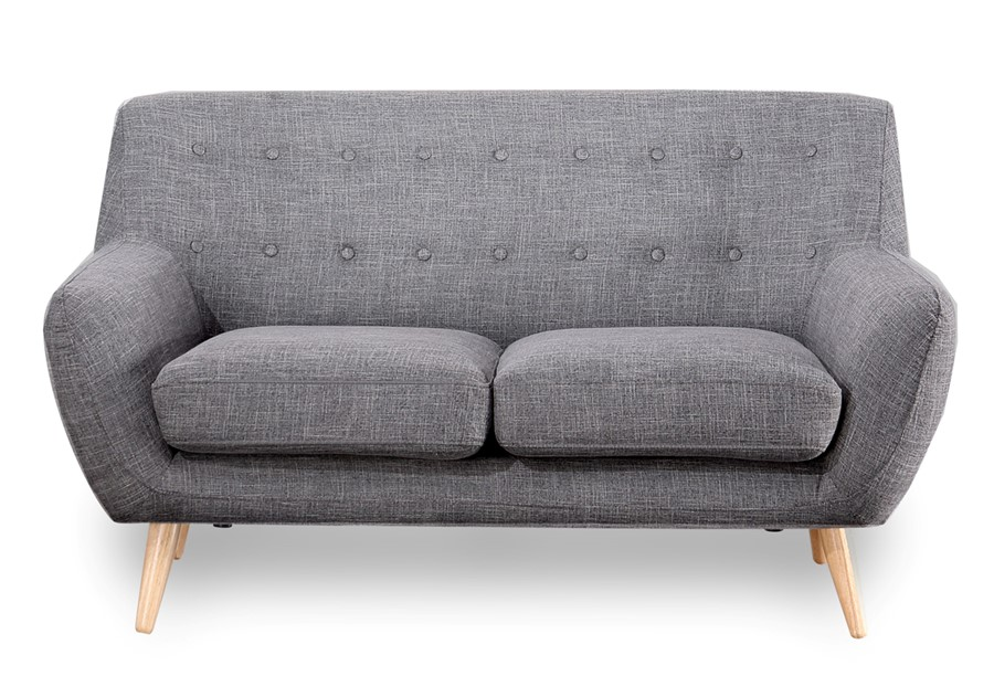 2 Seater Sofa in light grey with buttons scandinavian style