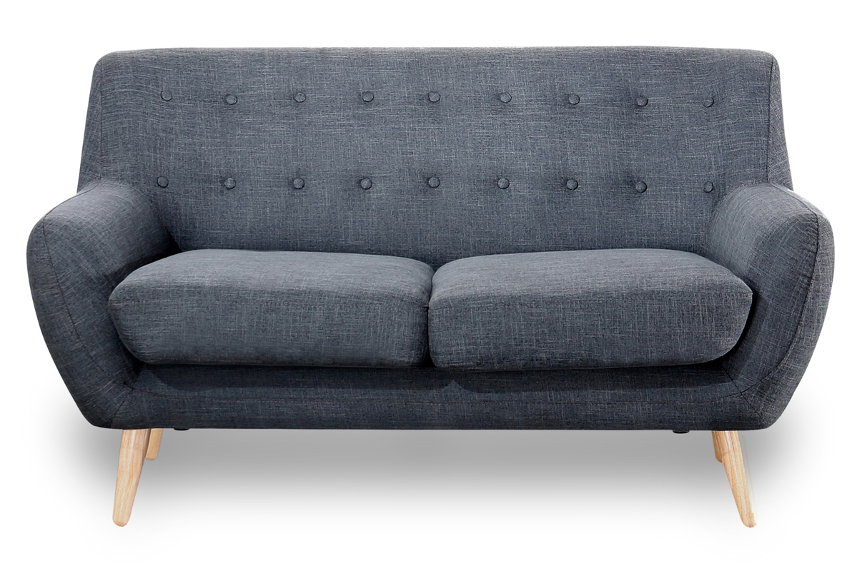 2 Seater Sofa in charcoal  grey with buttons scandinavian style