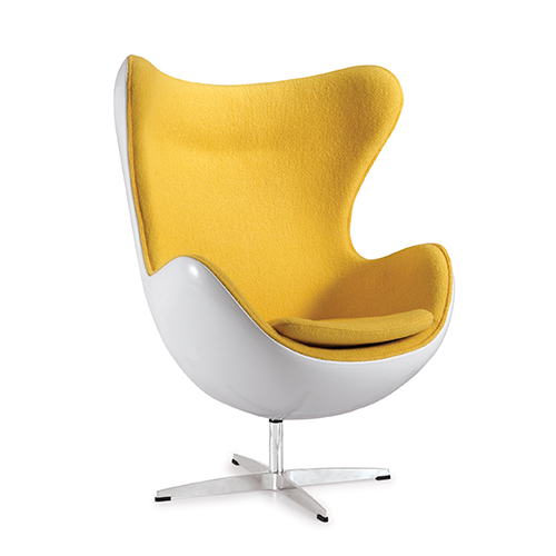 egg chair yellow white reproduction by home elements. Black Bedroom Furniture Sets. Home Design Ideas