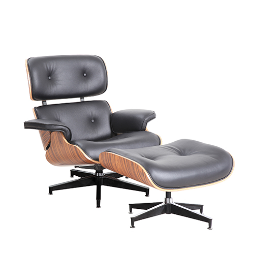 charles eames style chair and stool black leather reproduction by home
