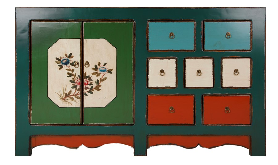 Rustic Antique  Look Chinese Hand Painted Lacquer Sideboard Chest of Drawers