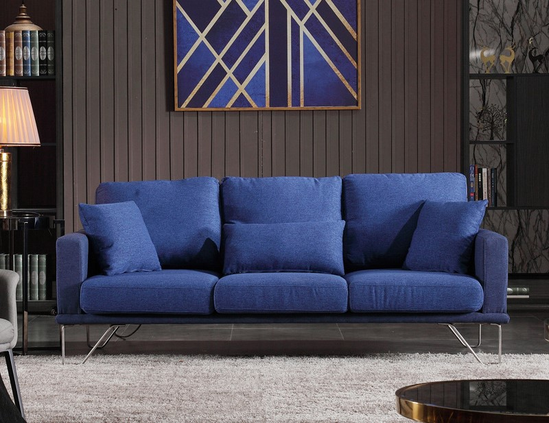 Contemporary 3 Seater Sofa Premium Quality Fabric Stainless Legs