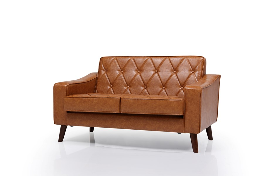 Brown Vintage PU Leather Two Seater