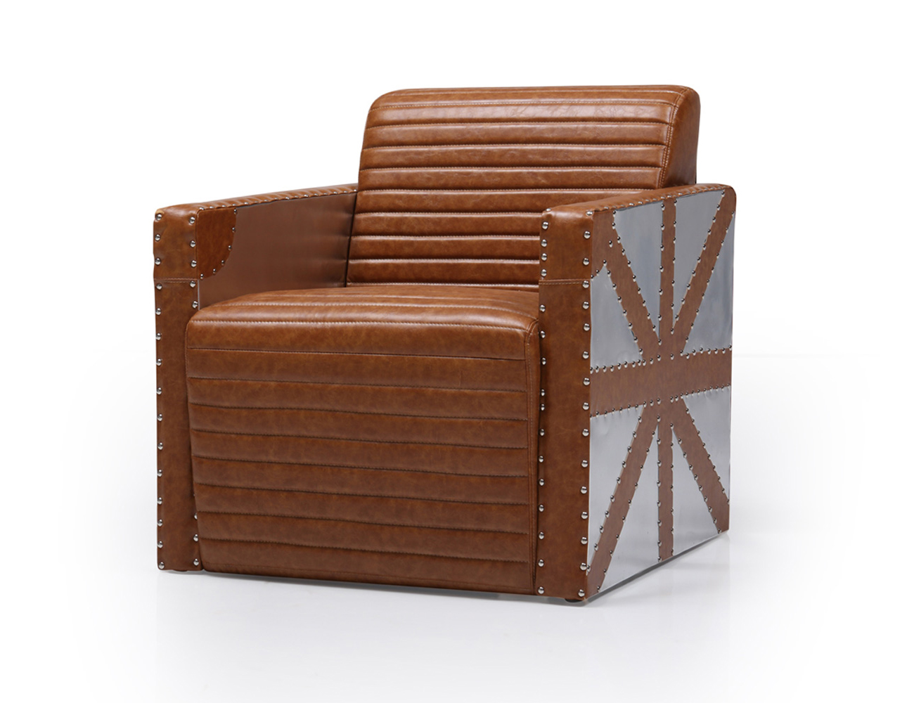 Aviation Bonded Leather Light Brown Arm Chair Union Jack