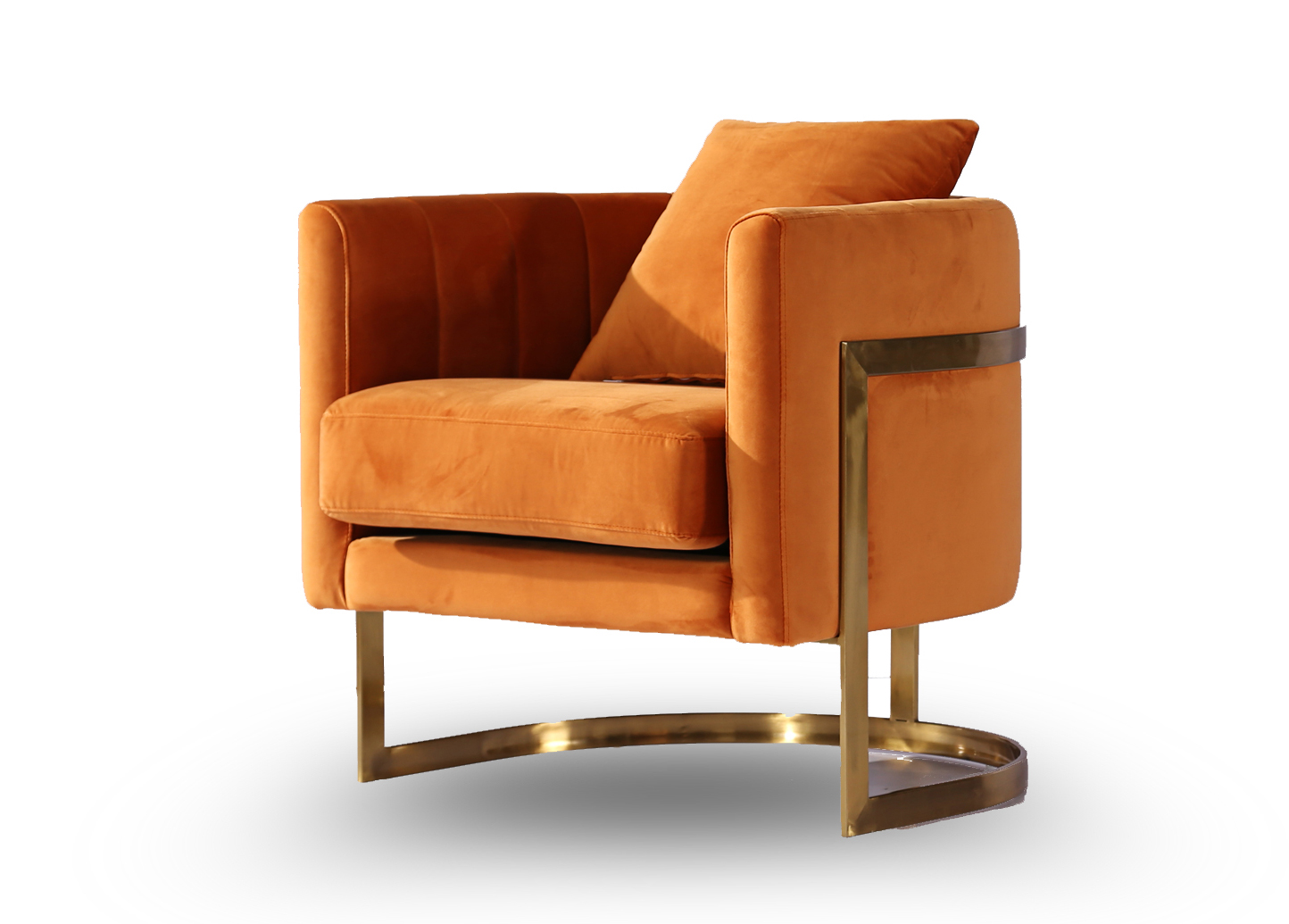 Picture of: Gold Frame And Orange Velvet Tub Accent Chair By Home Elements