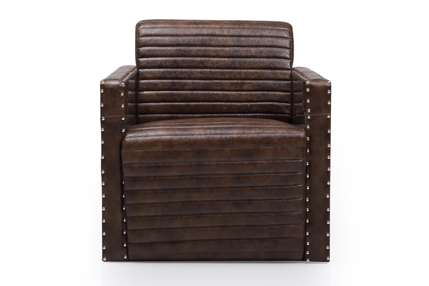 Aviation Bonded Leather Dark Brown Arm Chair 1 Seater