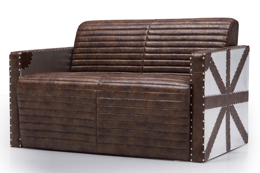 Aviation Bonded Leather Dark Brown Arm Chair Union Jack