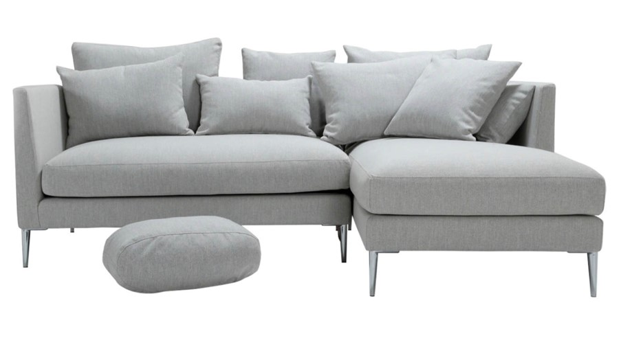 Grey Corner 3 Seater Sofa Luxury Feather Hollow Fibre Seats Cushion