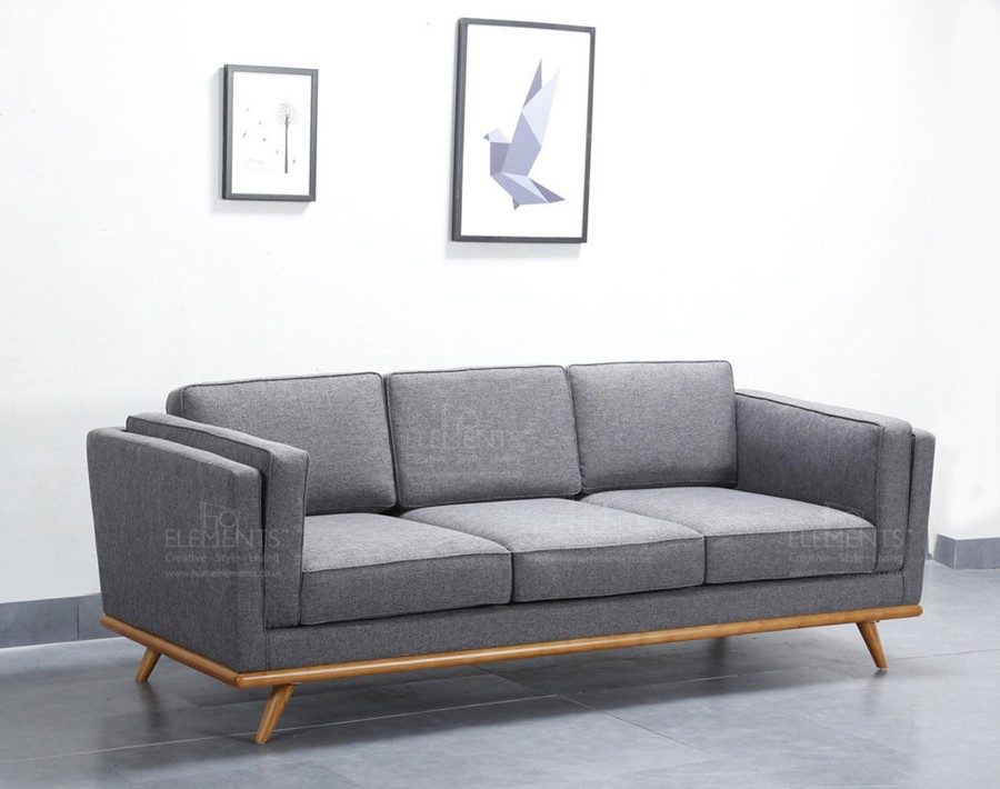 Scandinavian Style Grey 3 Seater Sofa Premium Quality Solid Wood