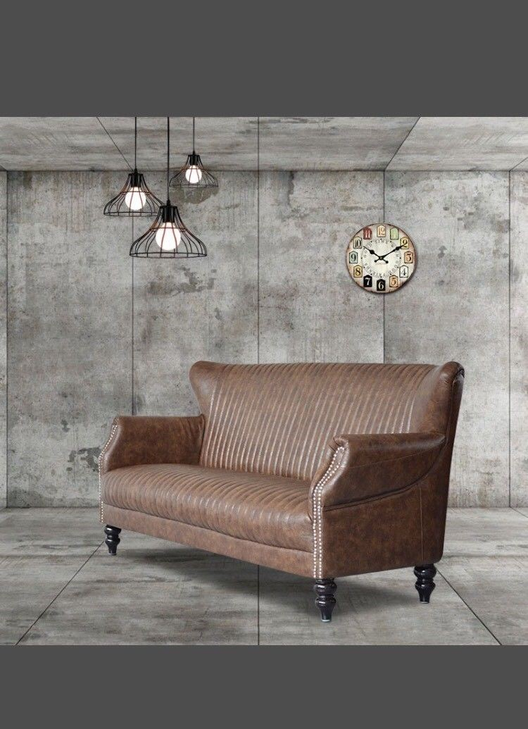 Wing Back 3 Seater Sofa Industrial Retro Brown Bicast Leather
