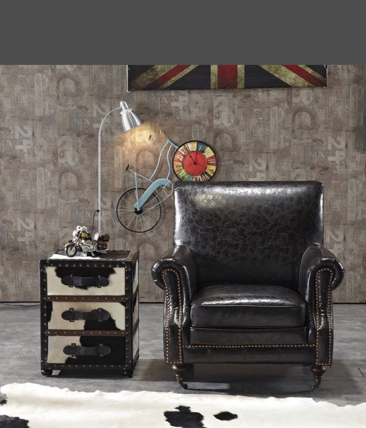 Wing Back Chair Industrial Retro Vintage Black Bicast Leather