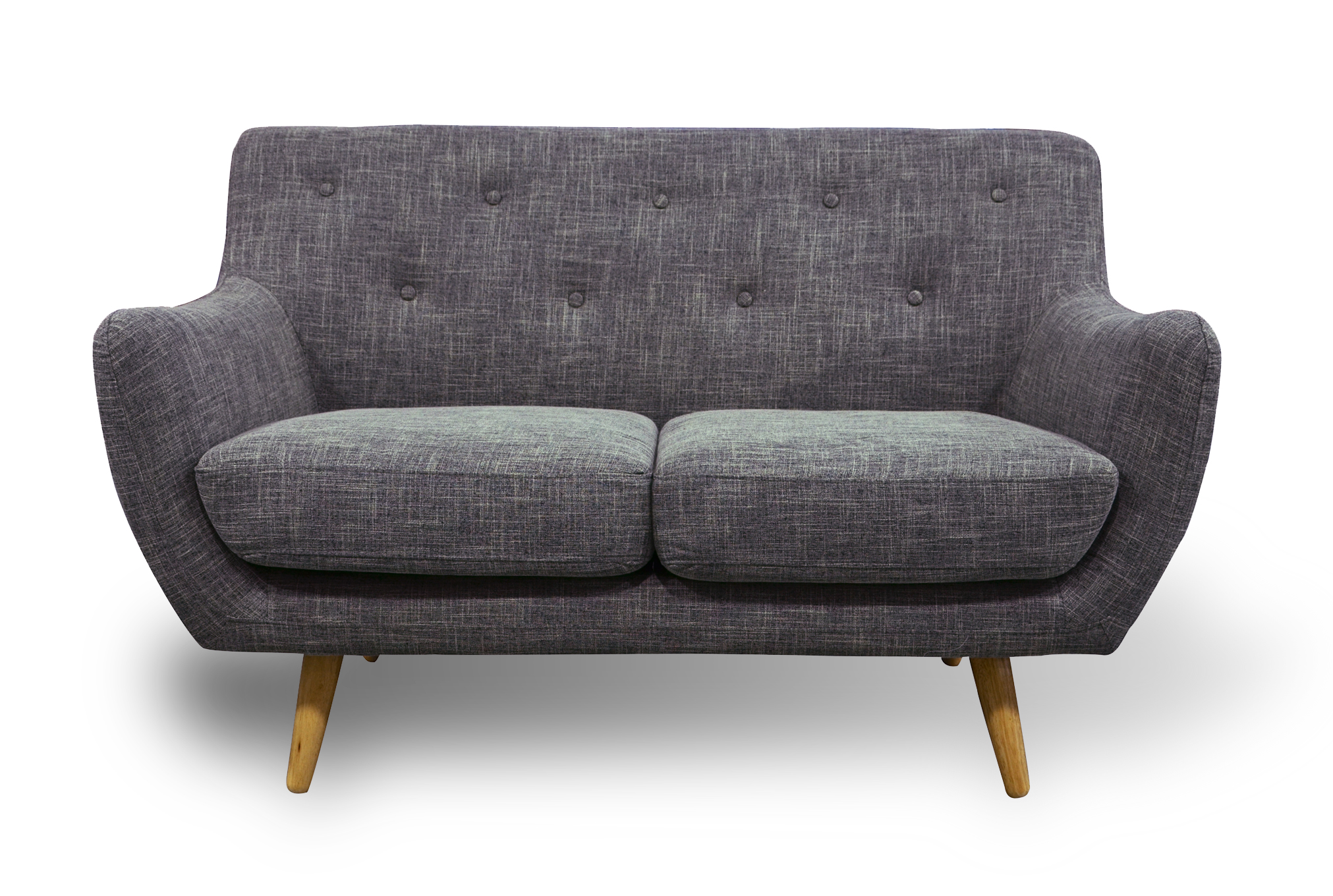 Retro Scandinavian Compact Design Grey 2 Seater Sofa By Home Elements