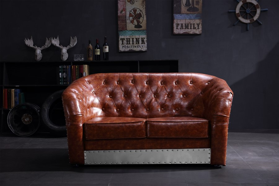 Industrial Aviation Vintage Whisky Brown BiCast PU Leather 2 Seater Sofa
