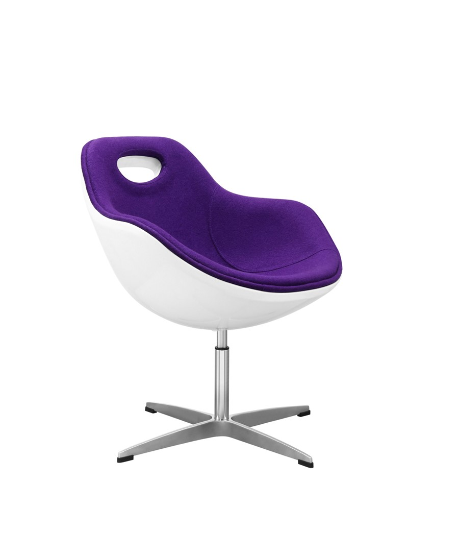 Swivel Egg Chair Purple Wool White Shell Kitchen/Dining/Office
