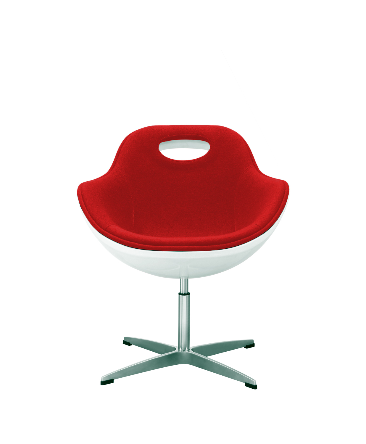 Swivel Egg Chair Red Wool White Shell Kitchen/Dining/Office