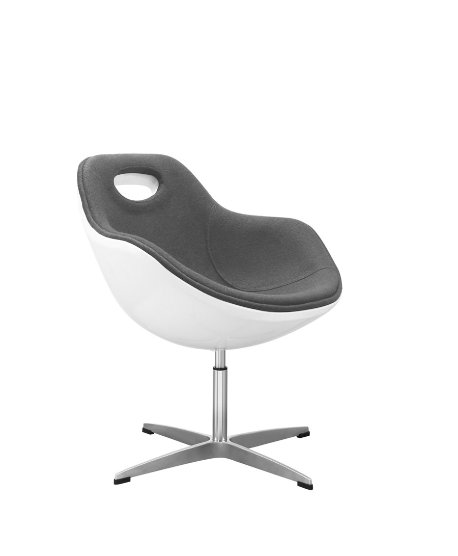 Swivel Egg Chair Grey Wool White Shell Kitchen/Dining/Office