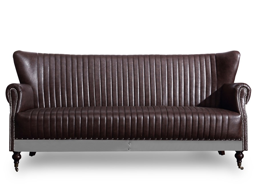 Wing Back Aviator 3 Seater Sofa Industrial Retro Brown PU Leather