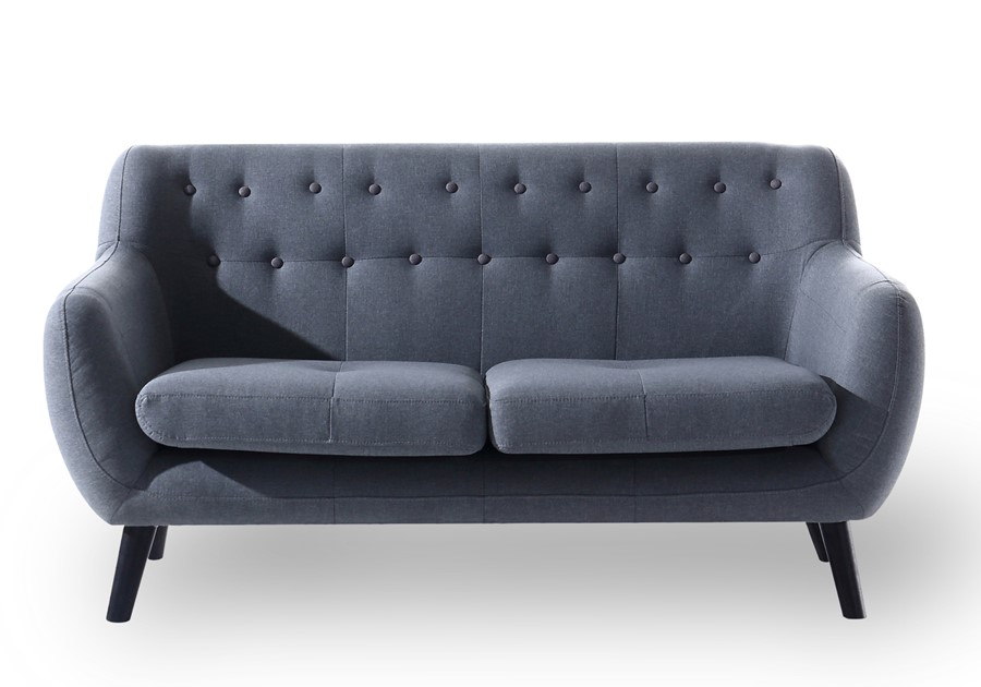 2 Seater Sofa Charcoal Grey Retro Scandi Design Small Modern Living