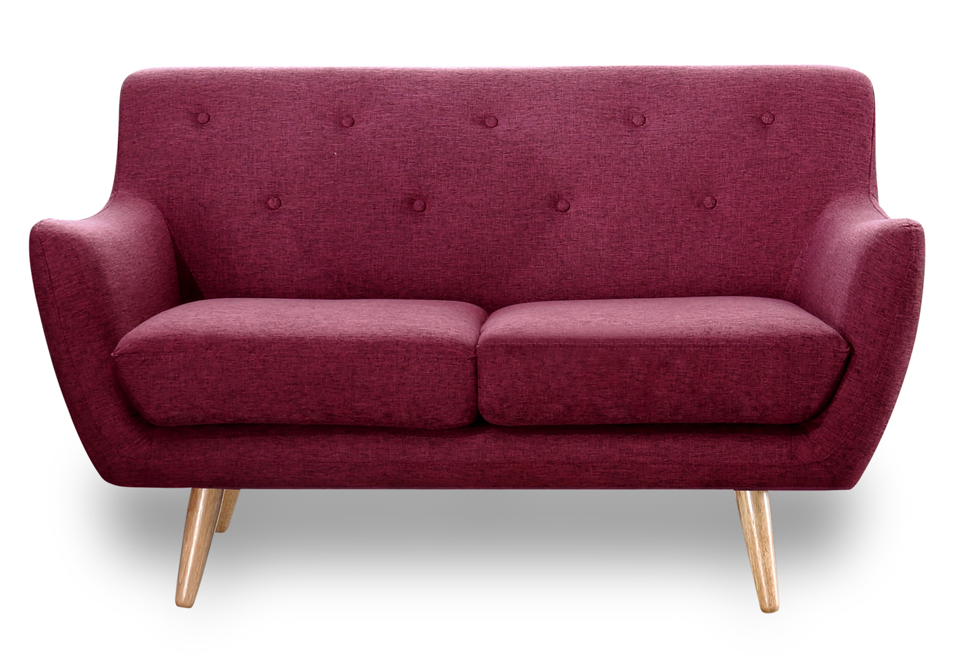 Retro Scandinavian Compact Design Pink 2 Seater Sofa