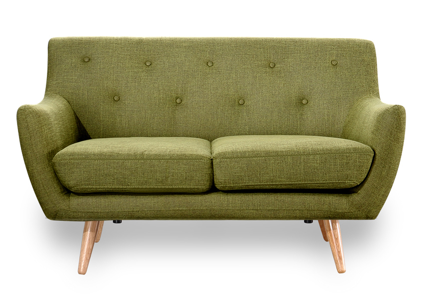 Retro Scandinavian Compact Design Green 2 Seater Sofa