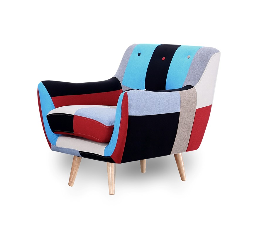 1 Seater Sofa Retro Scandinavian Compact Patchwork Fabric and Stool