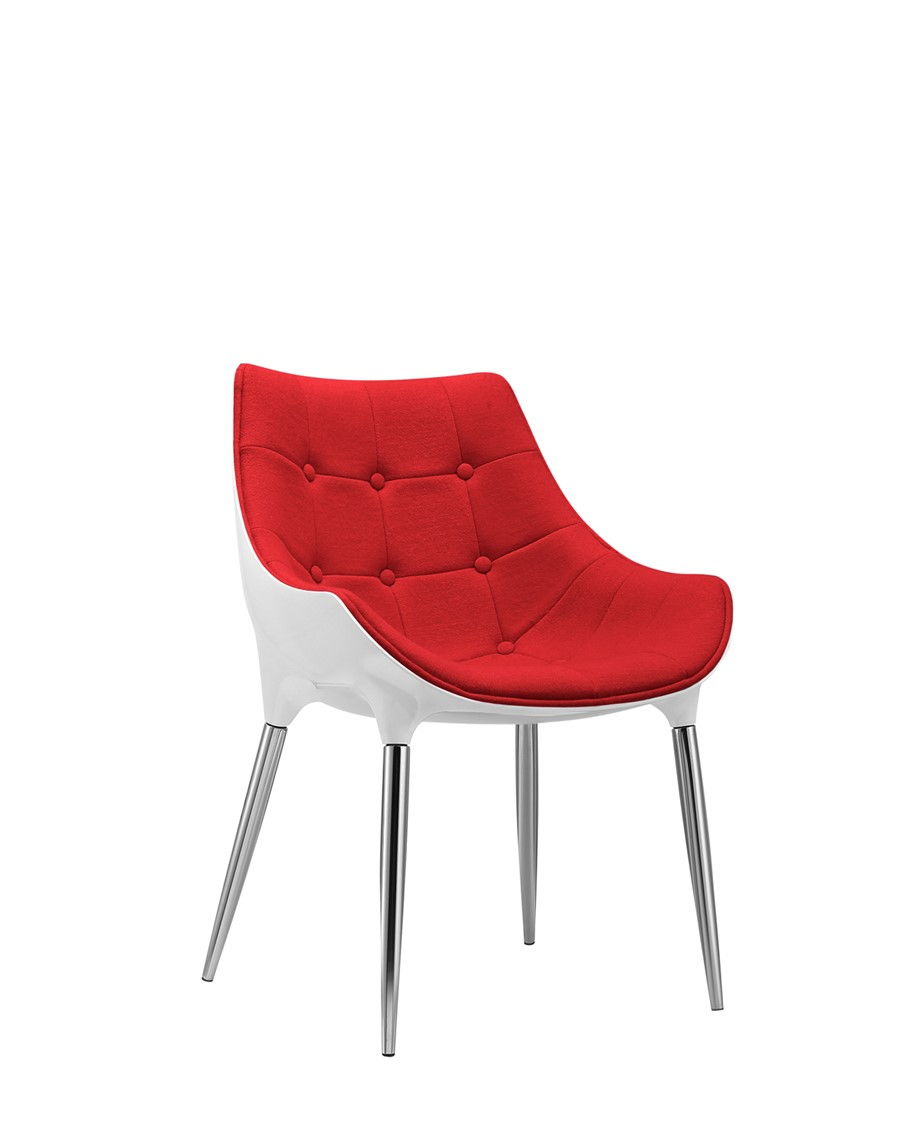 Dining Chair Red Wool White Shell Kitchen/Dining/Office Chair