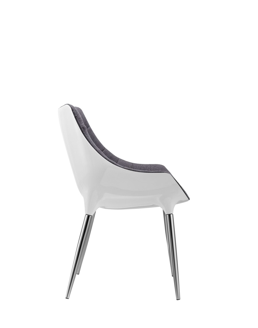 Dining Chair Grey Wool White Shell Kitchen/Dining/Office Chair