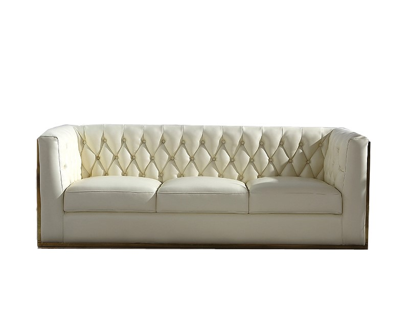 Chesterfield Inspired 3 Seater Sofa Premium Grade Cream Microfiber PU Leather