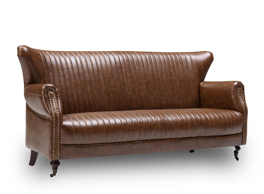 Wing Back 3 Seater Sofa Industrial Retro Tan Brown Bicast Leather