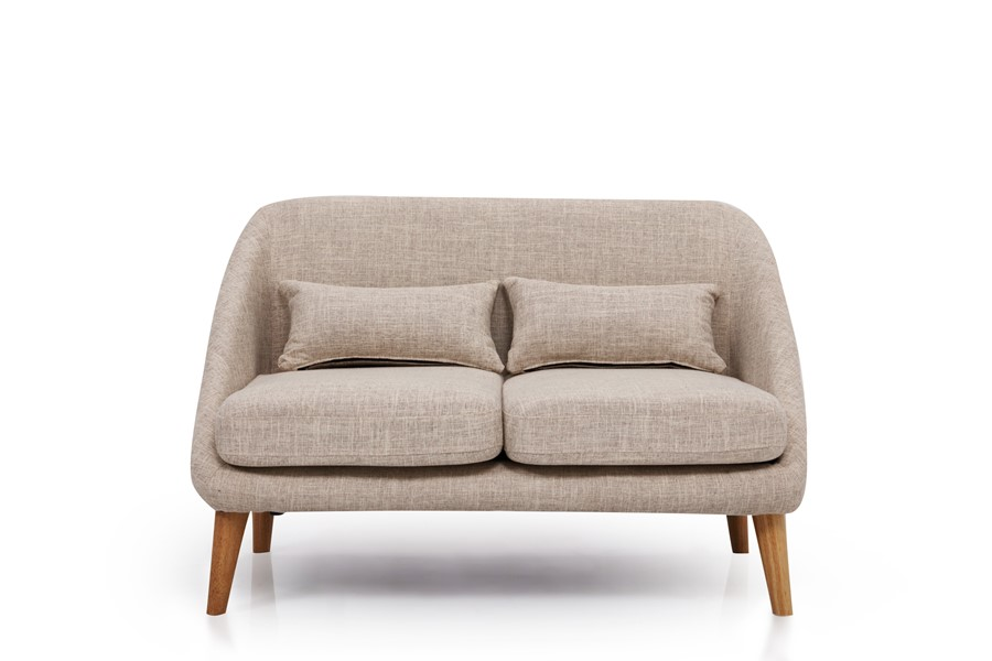 Grey Fabric Two Seater Sofa - Ideal for small space living