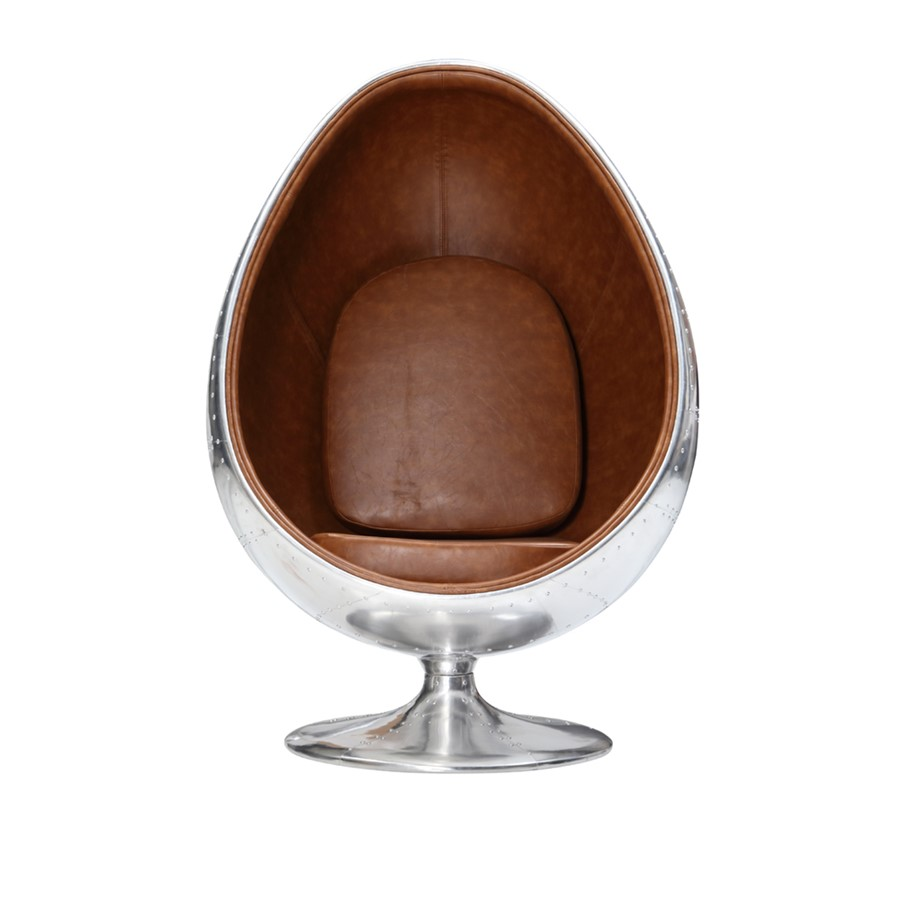 Aviation Pod Chair Tan Brown PU  Leather