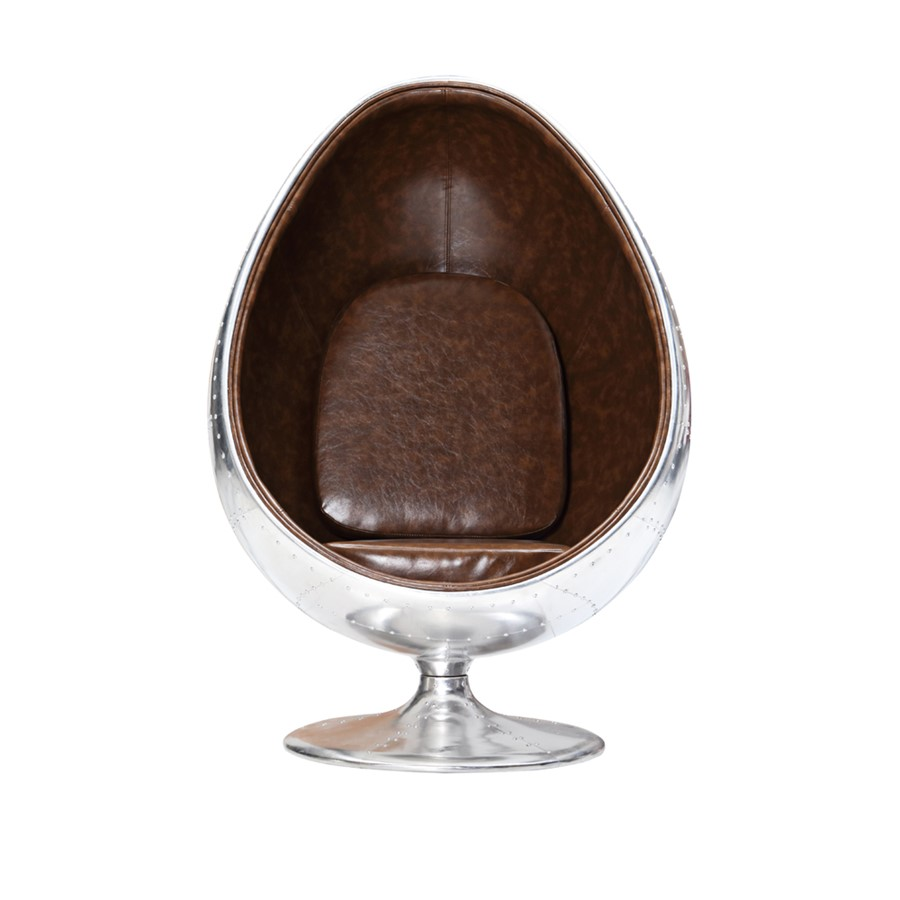 Aviation Pod Chair Brown PU  Leather