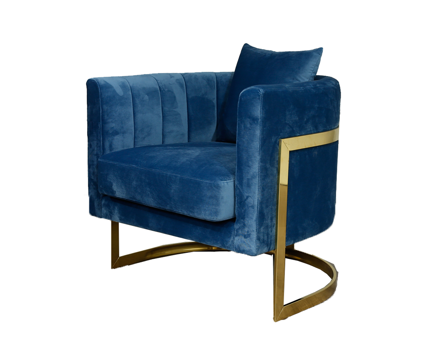 Gold Frame and Blue Velvet Tub Accent Chair