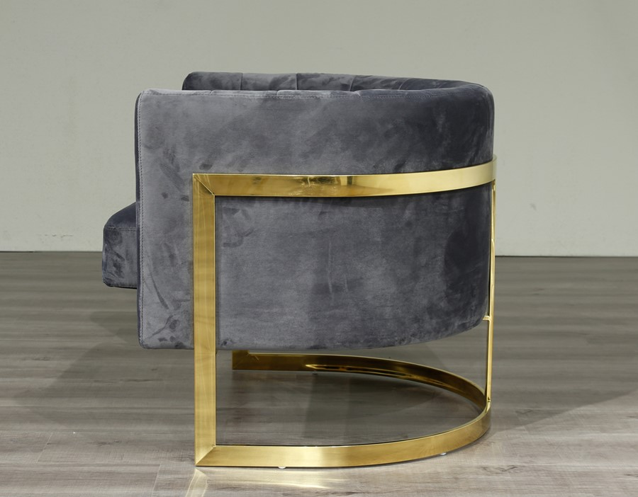 Gold Frame and Grey Velvet Tub Accent Chair
