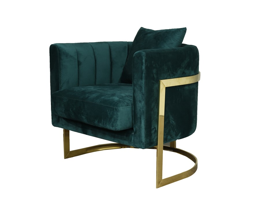 Gold Frame and Green Velvet Tub Accent Chair