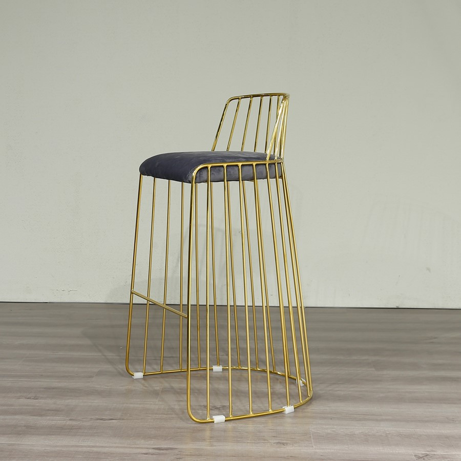 Breakfast Bar Stool Premium Gold Metal Frame and Grey Velvet
