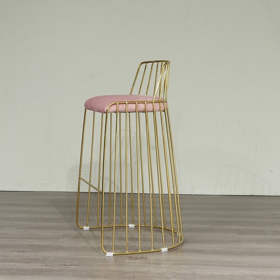 Breakfast Bar Stool Premium Gold Metal Frame and Pink Velvet
