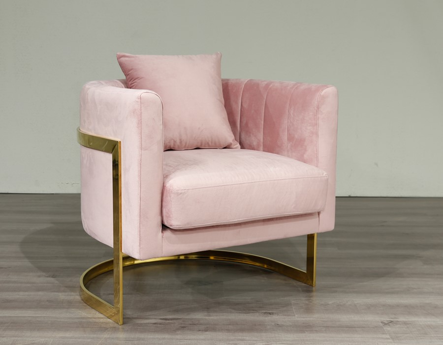 Gold Frame and Pink Velvet Tub Accent Chair