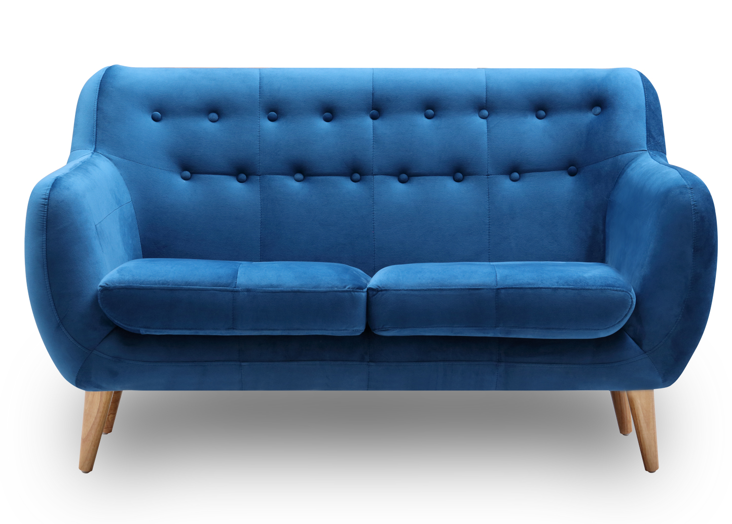 2 Seater Velvet Sofa in blue with buttons scandinavian style