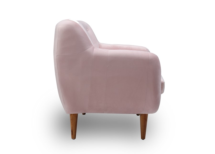 2 Seater Velvet Sofa in baby pink with buttons scandinavian style
