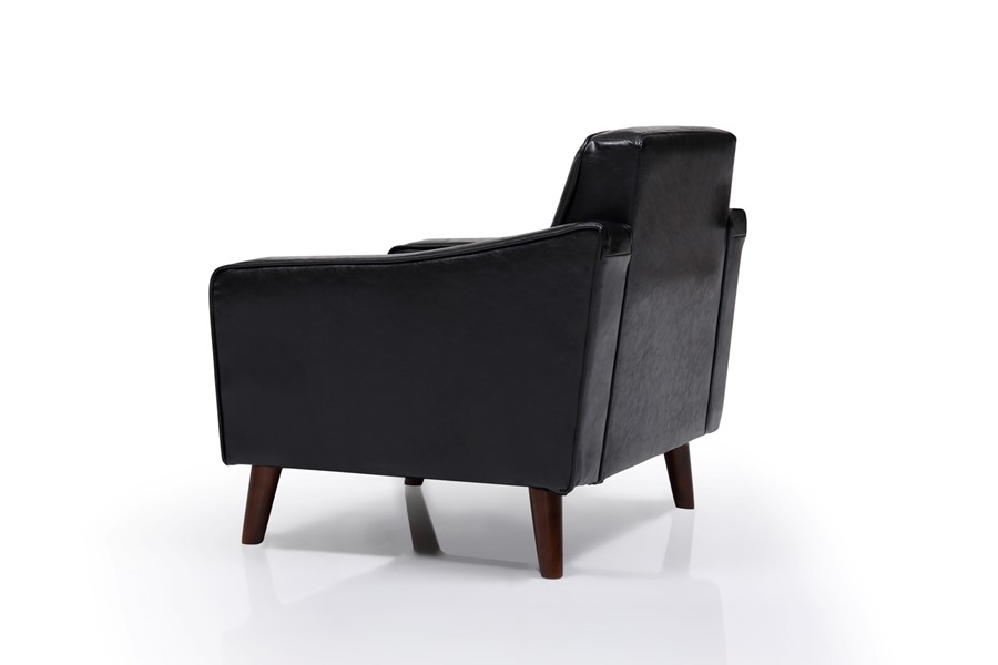 Black Vintage PU Leather One Seater